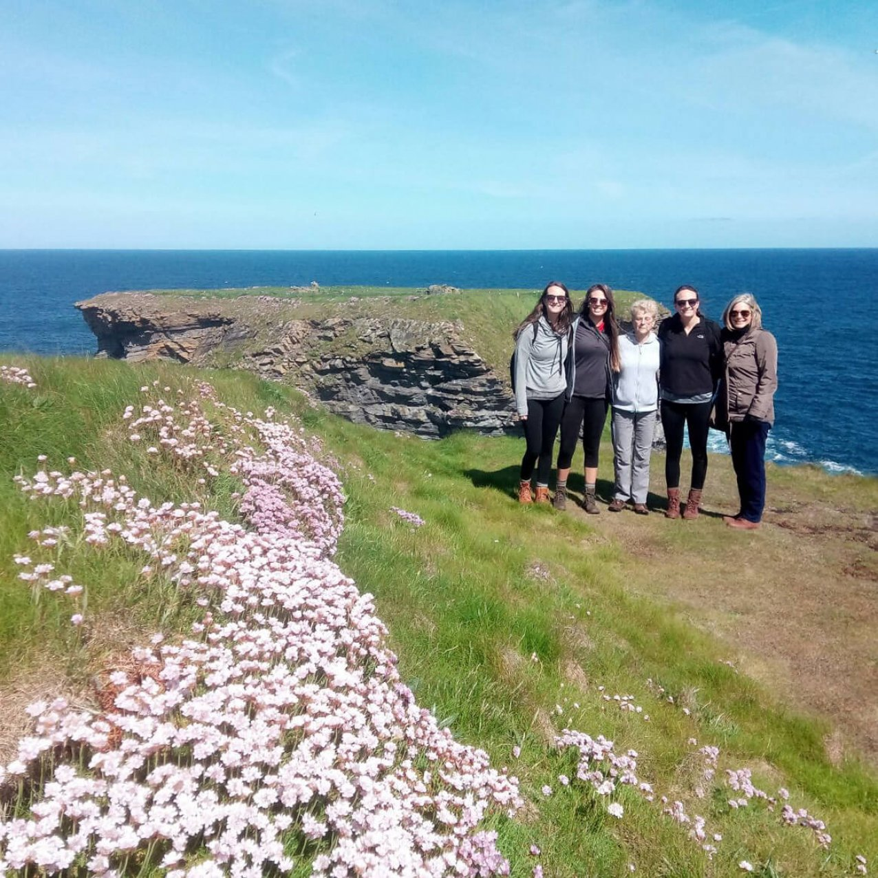 Family group posing on the coast in Clare with wildflowers in the foreground
