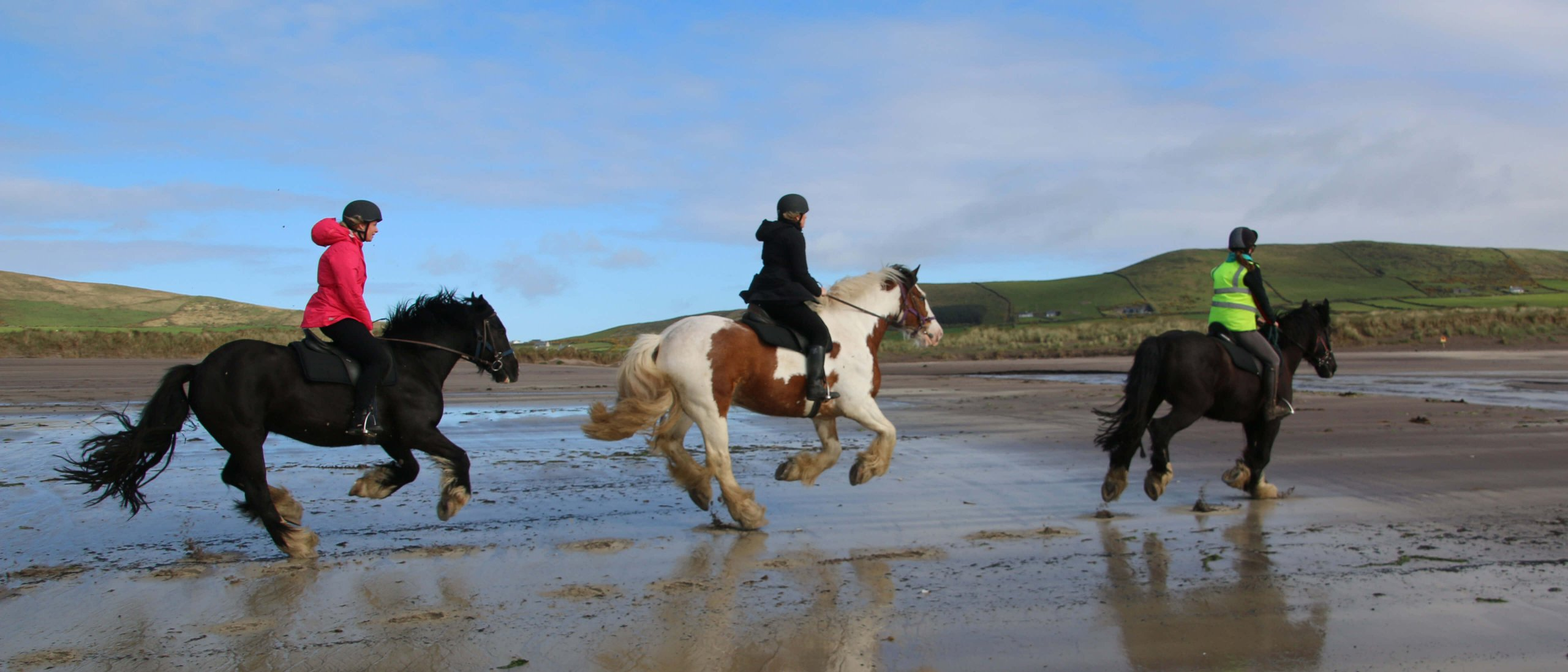 Three horse riders gallop along a scenic beach in Ireland