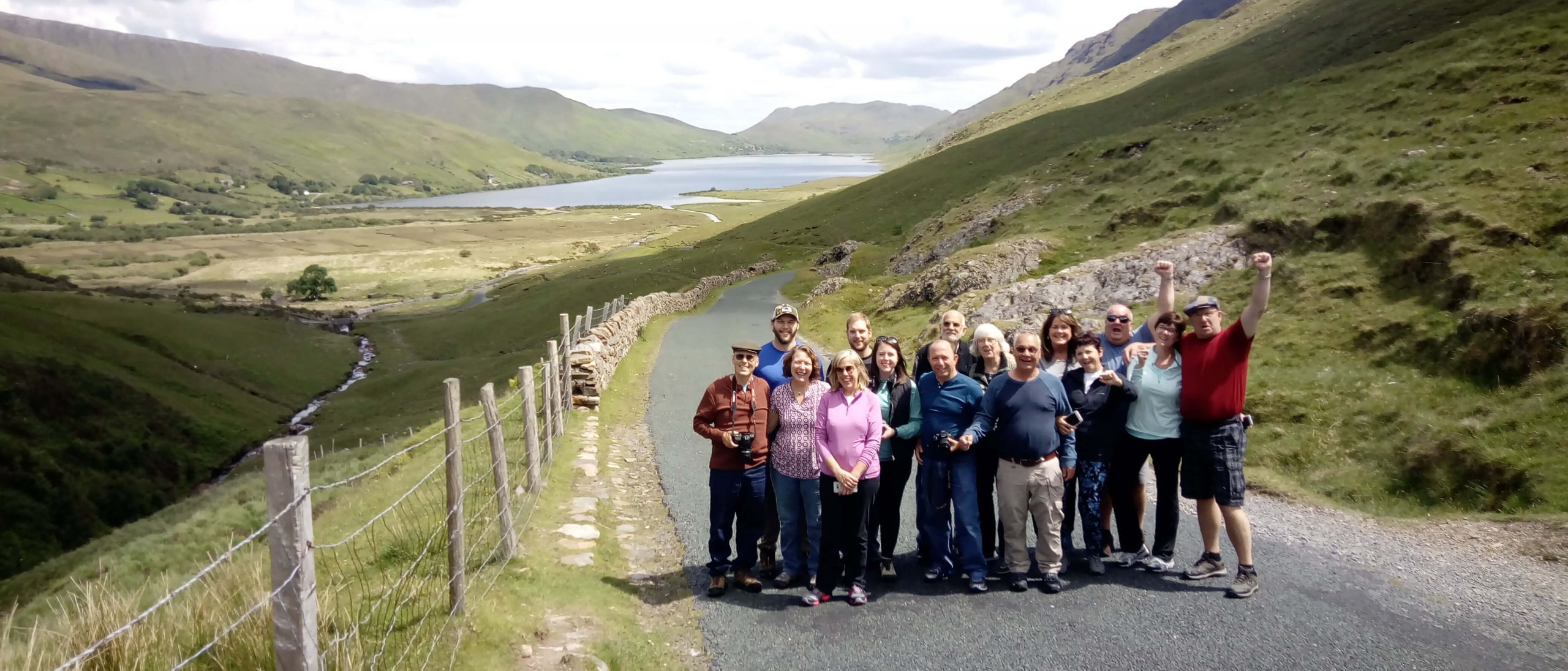 Happy tour group on the Healy Pass in Ireland