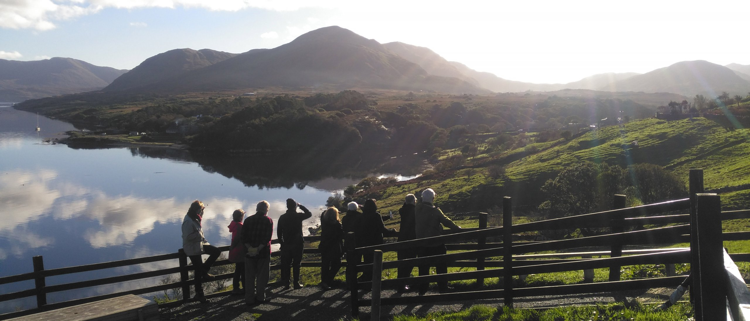 Group admiring the view at Tom Nee's sheep farm in Killary Harbour