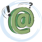 A green email 'at' sign cartoon icon