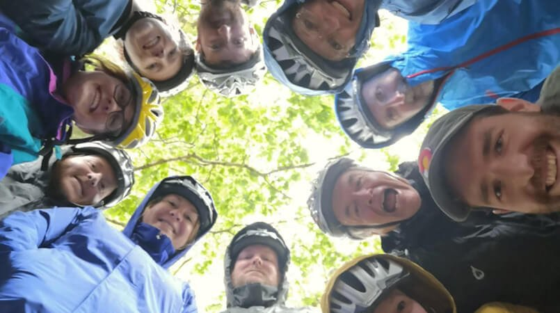 Downward facing selfie for a cycling tour group in Ireland