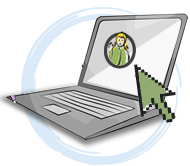 A laptop icon with a green arrow pointing towards a girl on the screen
