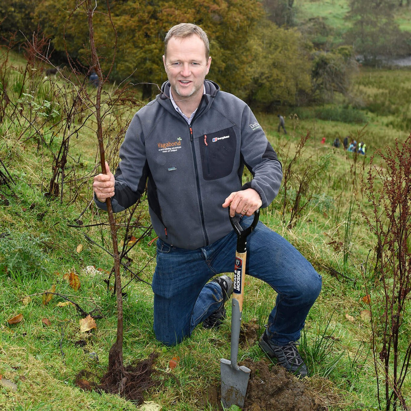 Rob Rankin of Vagabond small group tours of Ireland planting a tree