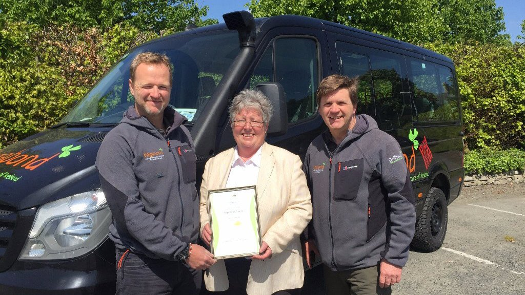 Rob Rankin and Larry Coady of Vagabond Tours accept Eco Tourism Gold Level Certificate from Mary Mulvey of Eco Tourism Ireland