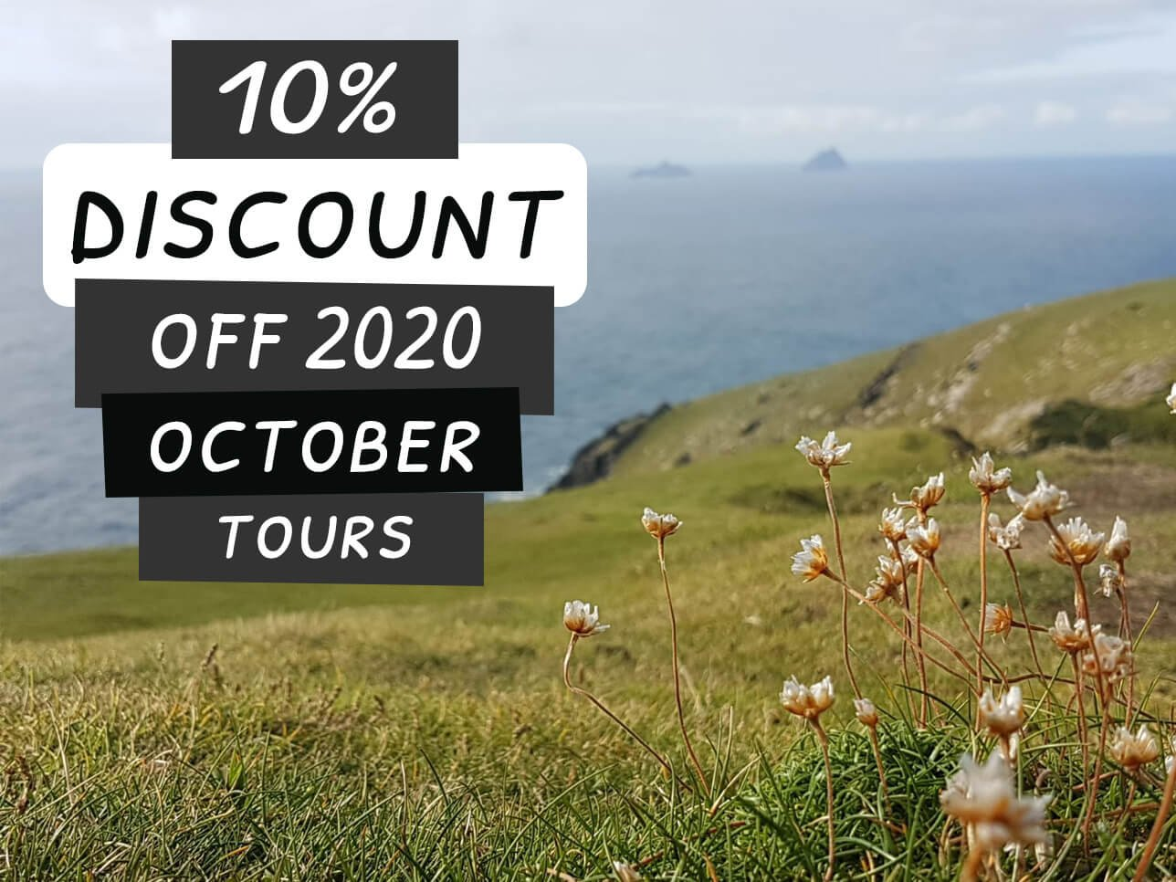 10 percent discount for October 2020 Ireland tours with scenic coastal view