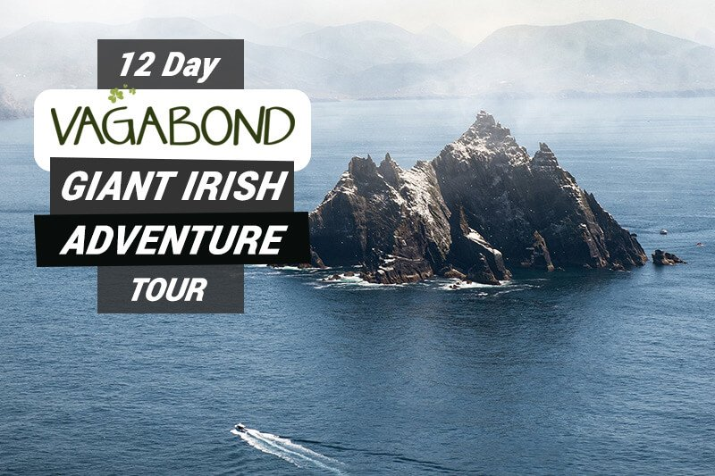 12 Day Vagabond Giant Irish Adventure graphic text overlaid on Skellig Island in Ireland
