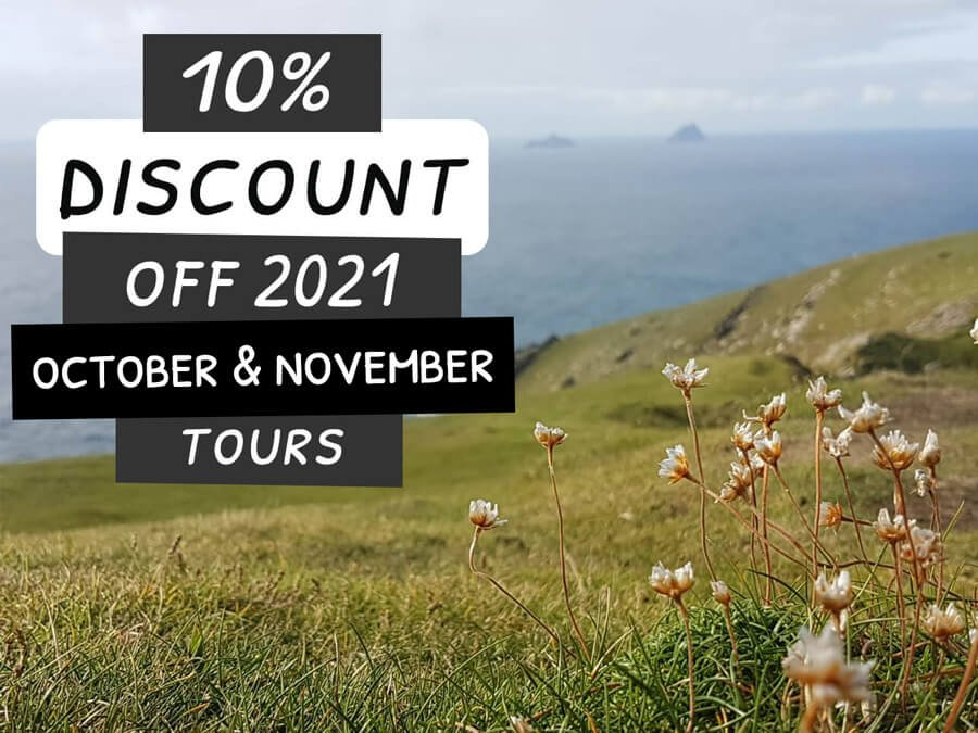10 percent discount for October and November 2021 Ireland tours with scenic coastal view