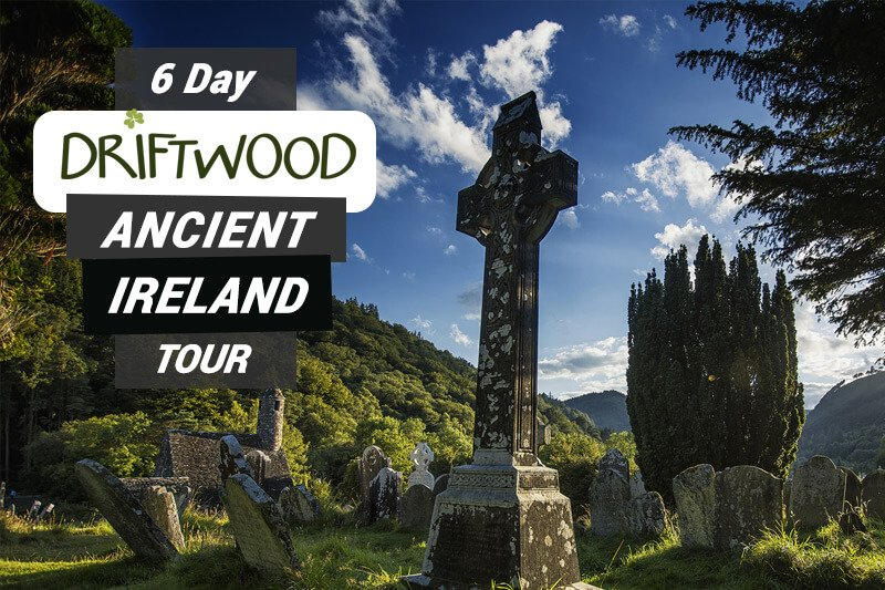 6 Day Driftwood Ancient Ireland tour card showing celtic cross in Glendalough graveyard