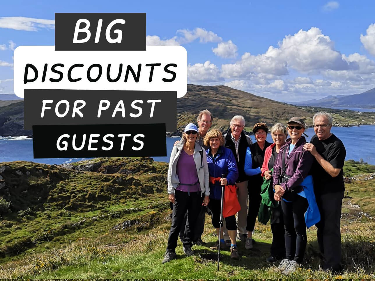 Big discounts for past guests card with group in scenic location in Ireland