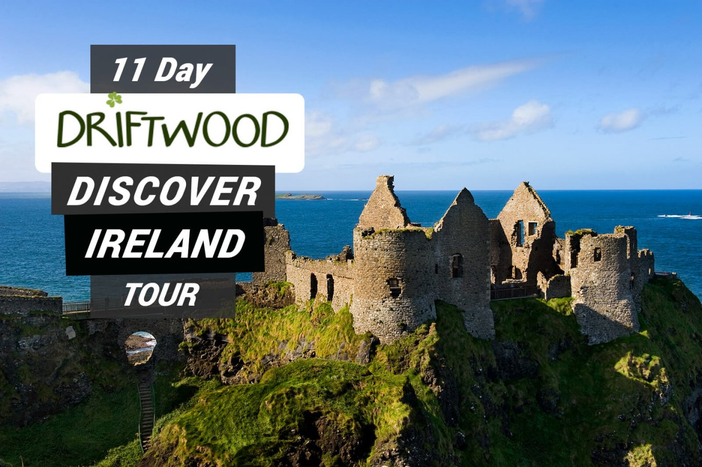 Dunluce Castle on a tour card for the 11 Day Discover Ireland tour from Vagabond tours