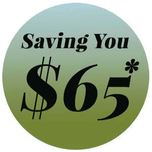 Saving you $65 on a circular green and blue background