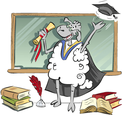 Cartoon Sheep Graduating