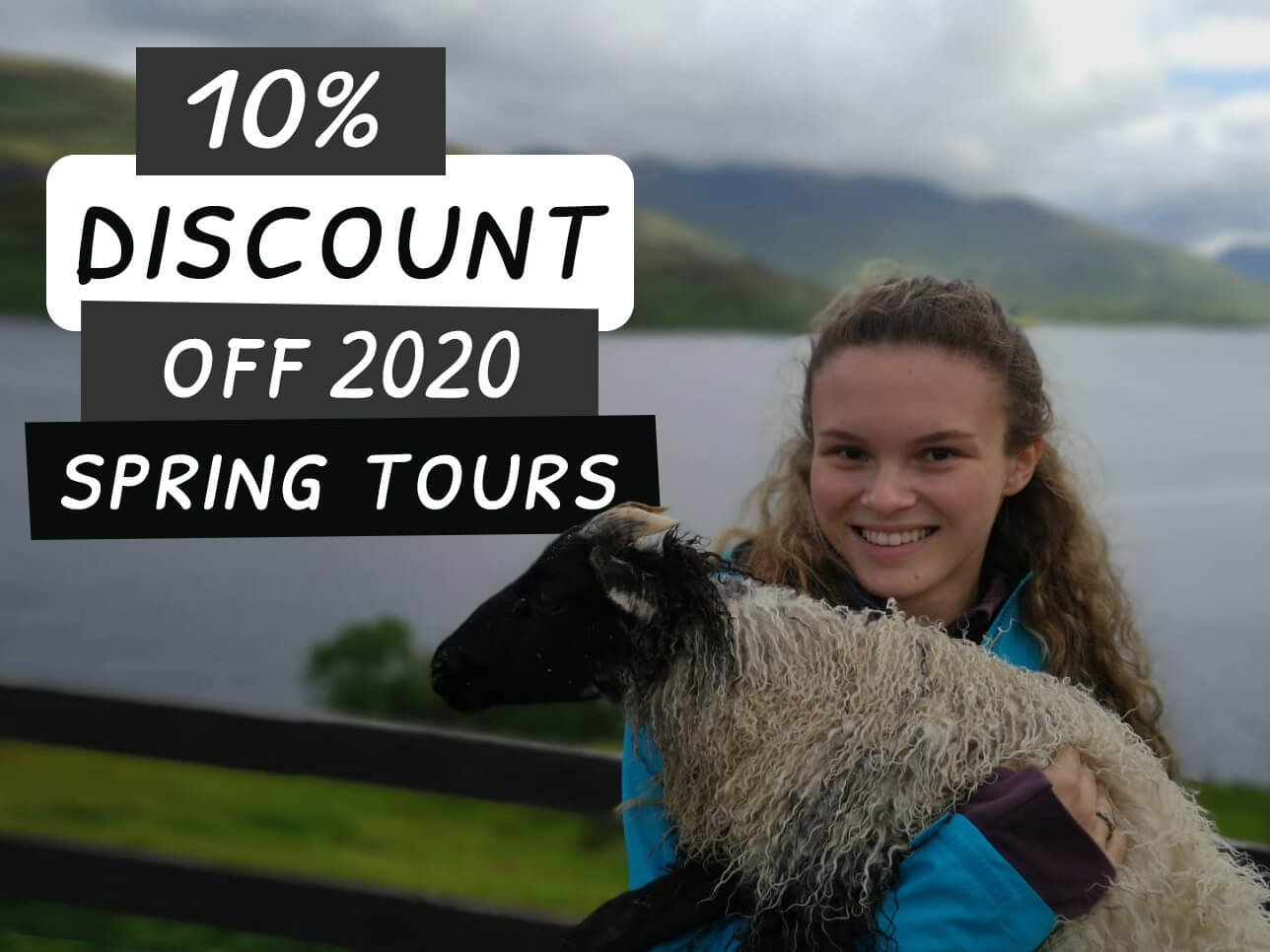 Ten percent discount off Ireland tours guest and lamb