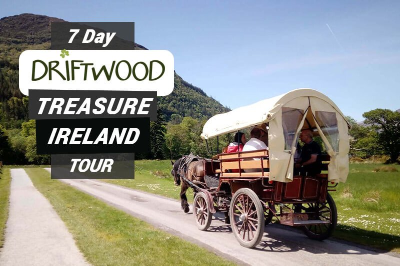 7 Day Driftwood Treasure Ireland Tour card showing a horse drawn carriage in Killarney National Park