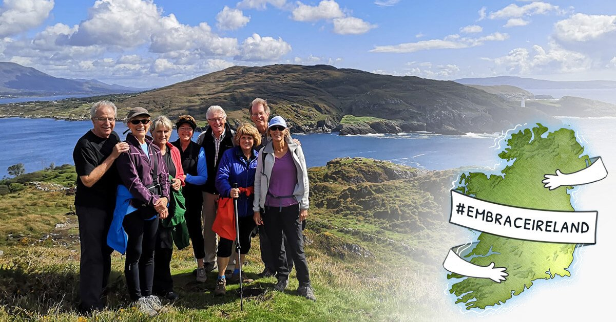 Embrace Ireland graphic with tour group in scenery
