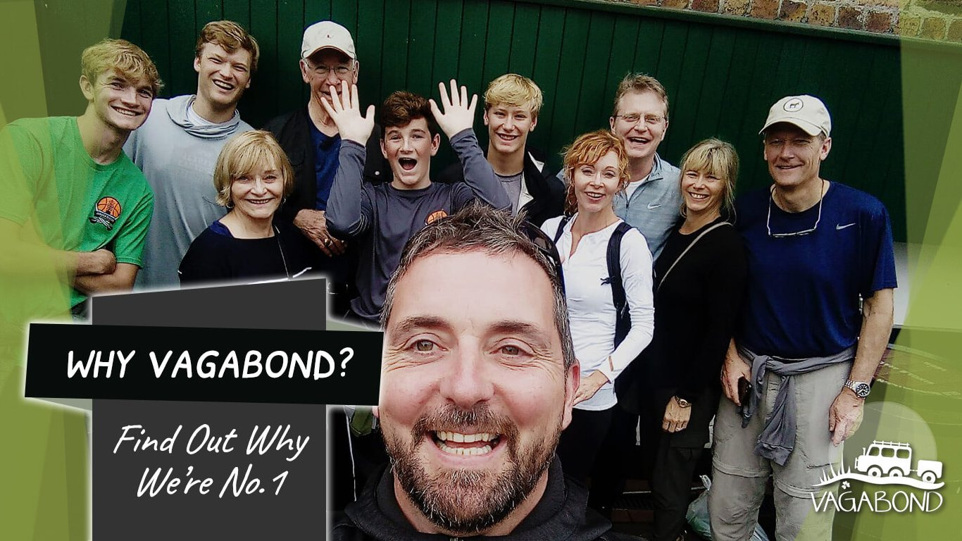 Why Vagabond? Page Feature selfie image tour guide with tour group