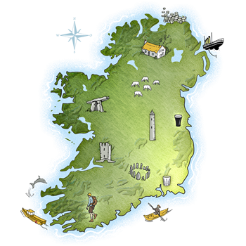An animated green map of Ireland with cartoon houses, round tower, pint of Guinness, Dolmen and castles dotted around the country
