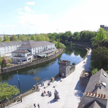 The River Court hotel with a view of the river nore