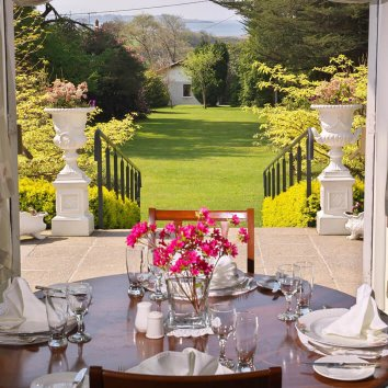 Table set for lunch at Seaview House and gardens in Cork, Ireland