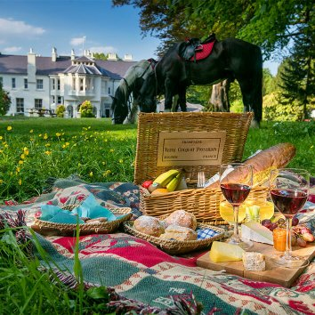 A picnic on the grass in front of Beech Hill with two horses in the background