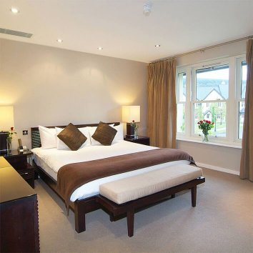 The interior of a double room in Brooklodge