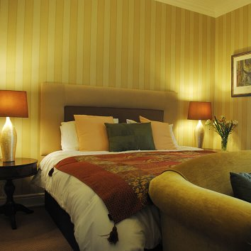 The interior of a double room in Killiane Castle and Country House