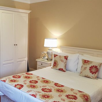 The interior design of a double room in the Moorings Guesthouse