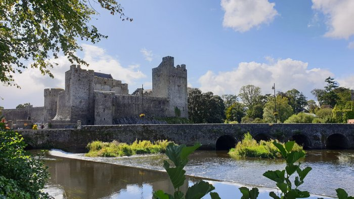 The exterior of Cahir Castle on the river Suir