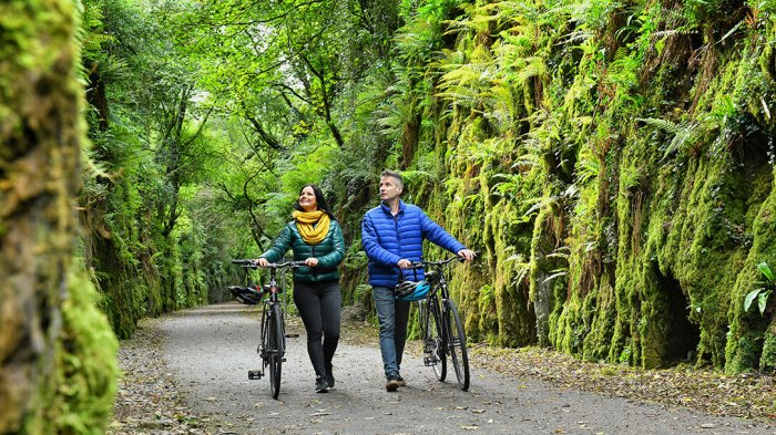 A man and woman walking through the waterford greenway with bikes beside them