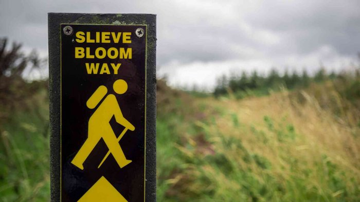 Walking trail sign in the Slieve Bloom mountains, Ireland