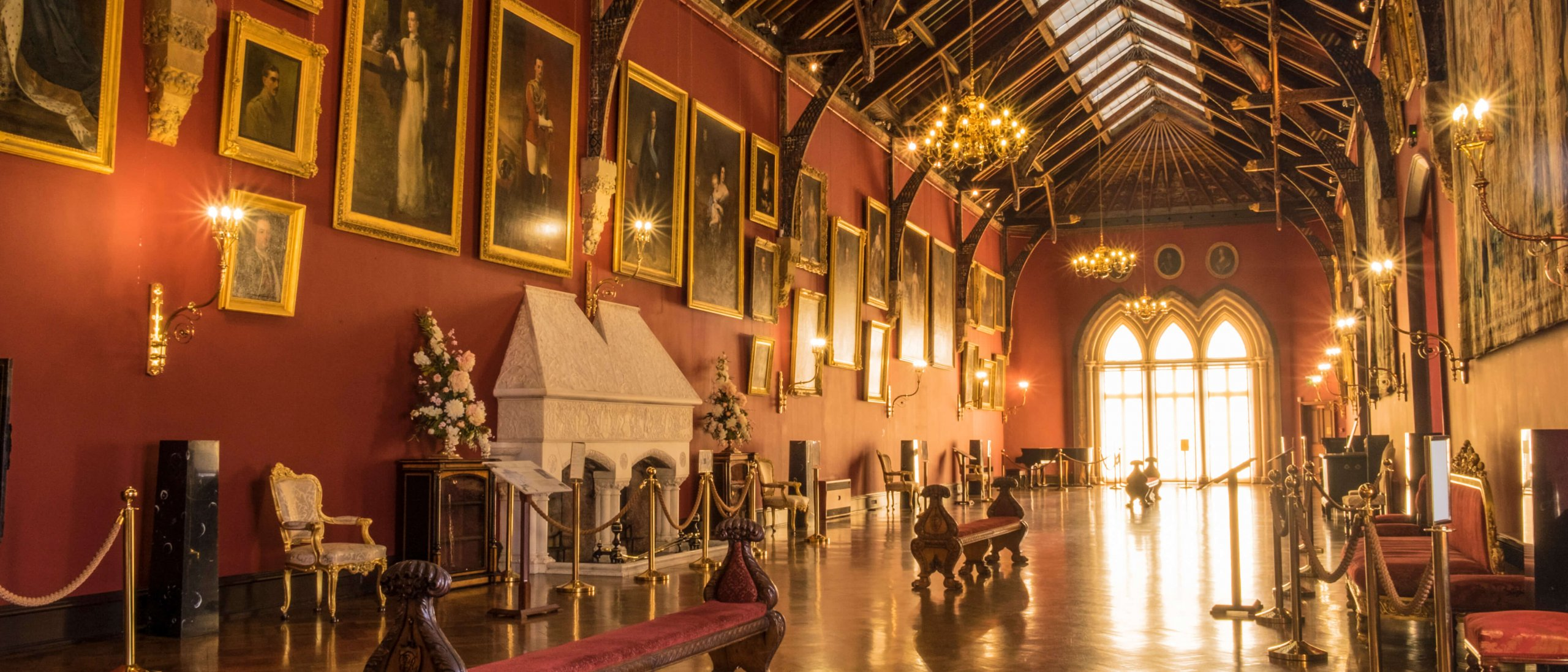 Ornately decorated museum hall in Kilkenny Castle, Ireland