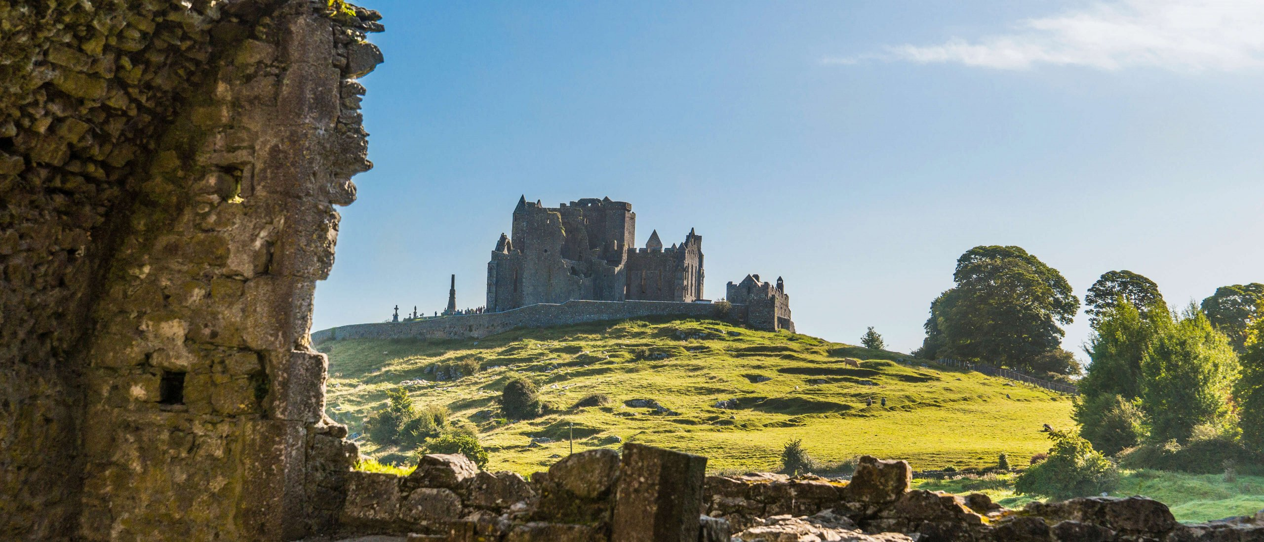The Rock of Cashel pictured from a distance