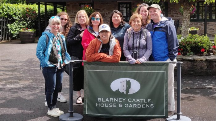 Smiling Driftwood tour group at Blarney Castle & Gardens in Ireland