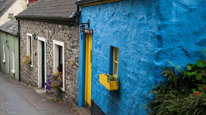 Colourful row of Irish cottages in Kinsale