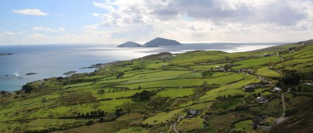 Patchwork fields and distant islands on the Ring of Kerry in Ireland