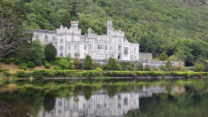 Kylemore Abbey reflected in its lake