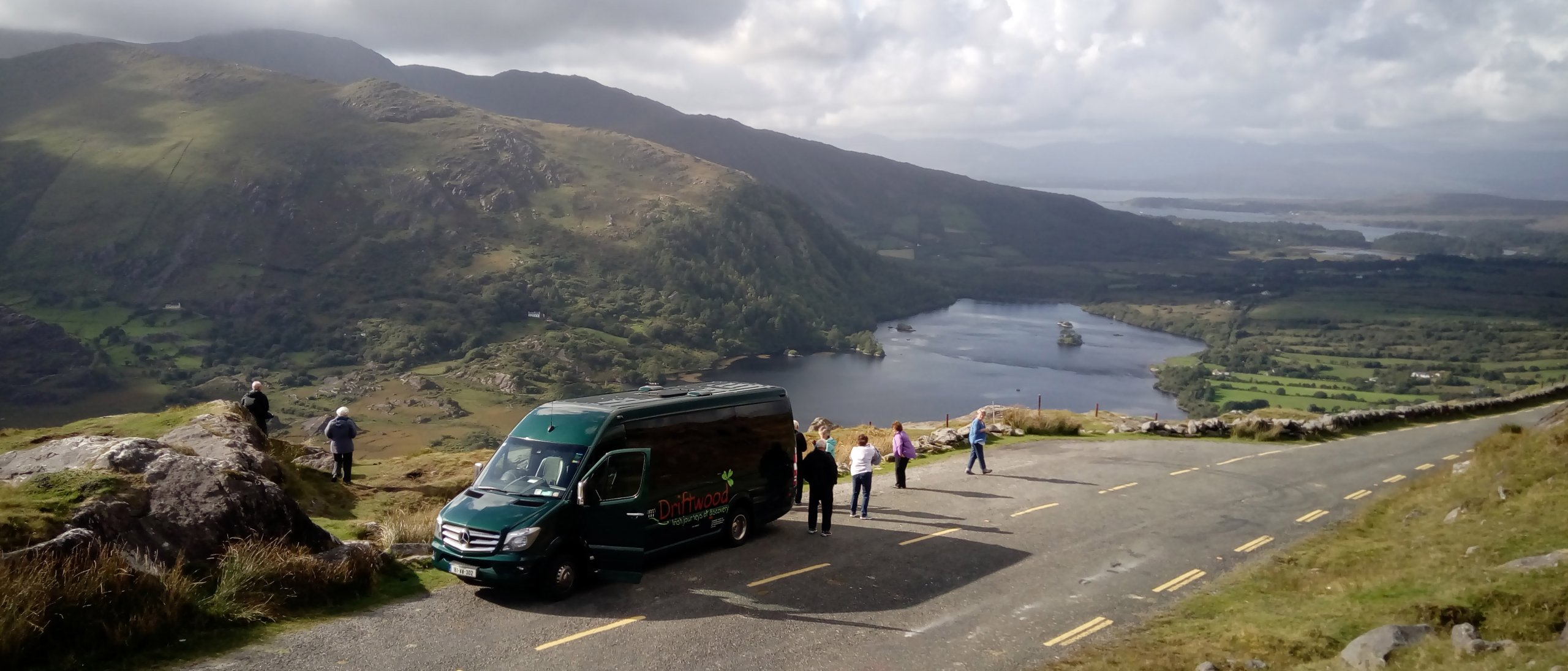 Drifter tour vehicle stops on the scenic Healy Pass between Kerry and Cork