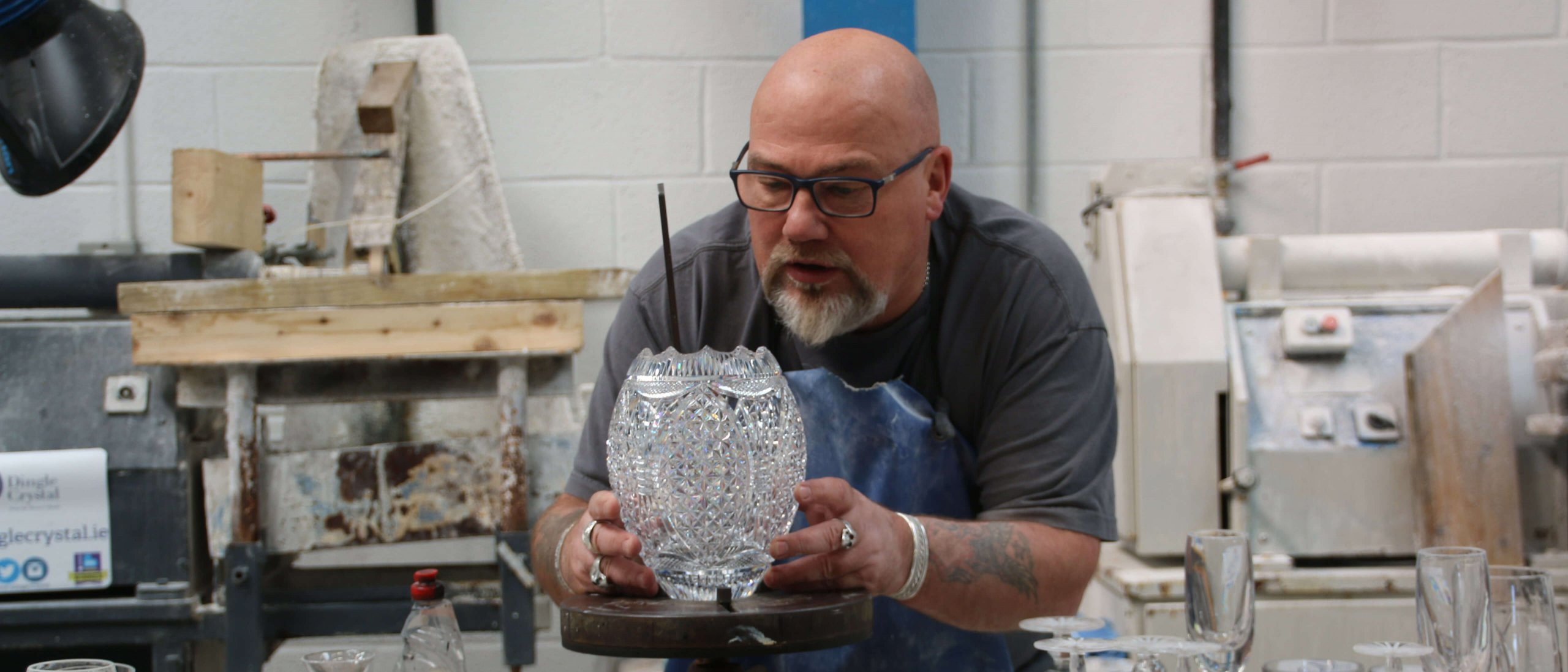 Master crystal craftsman Sean Daly in his studio in Dingle, Ireland