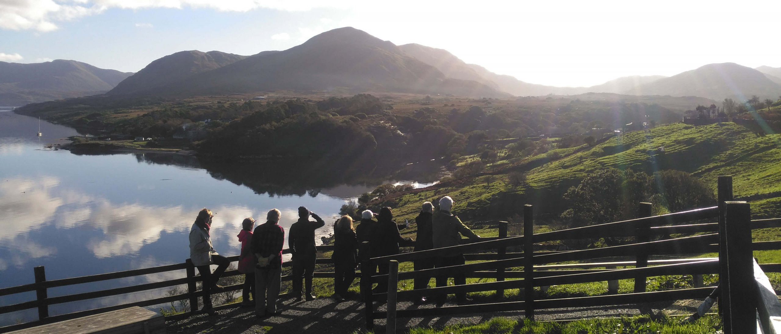Driftwood Tour Group gazing out over scenic Killary Harbour/Fjord from Tom Nee's sheep farm in Ireland