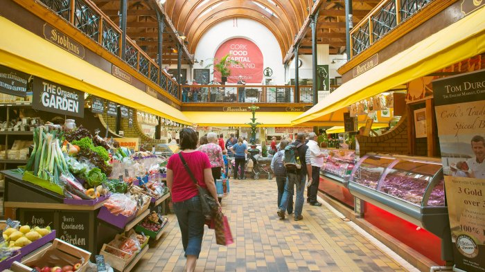 Interior of English market food emporium in Cork, Ireland