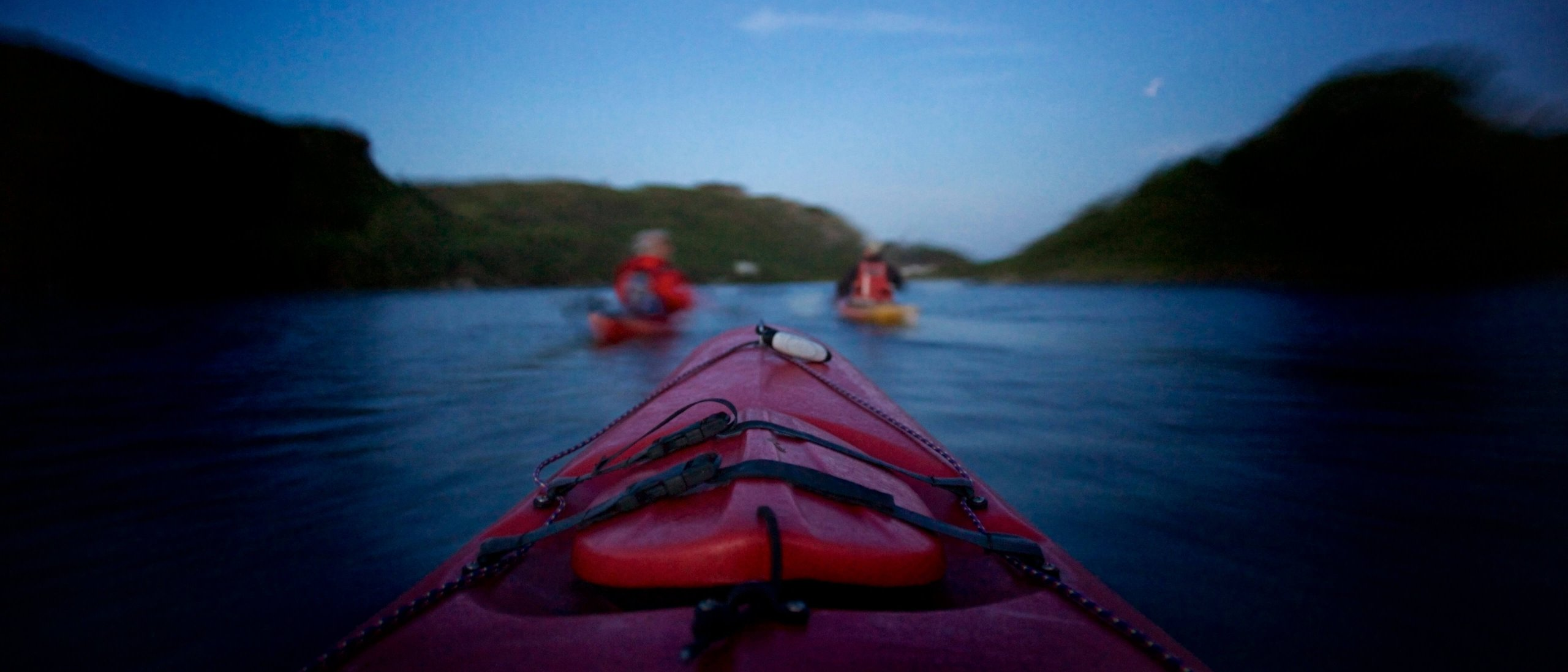 Point of view perspective shot of sea kayaking in Ireland with blur effect