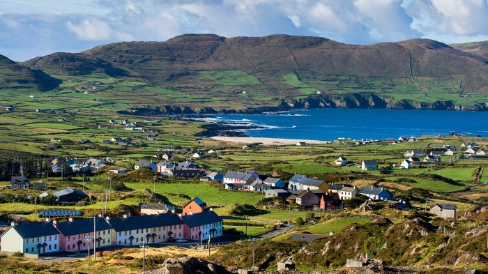 View over Allihies on the Beara Peninsula from the Copper Mines
