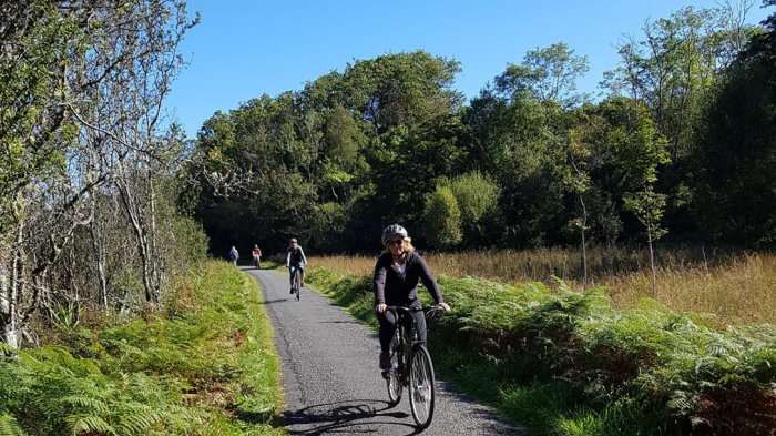 Two women cycling through the forest in Killarney National Park