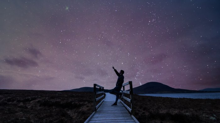Man pointing at the night sky in Mayo Dark Sky Reserve