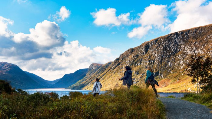 A trio of female hikers in Glenveagh National Park