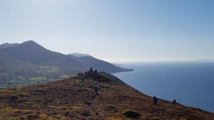 On top of Rossbeigh mountain with panoramic viewpoint above the Ring of Kerry.