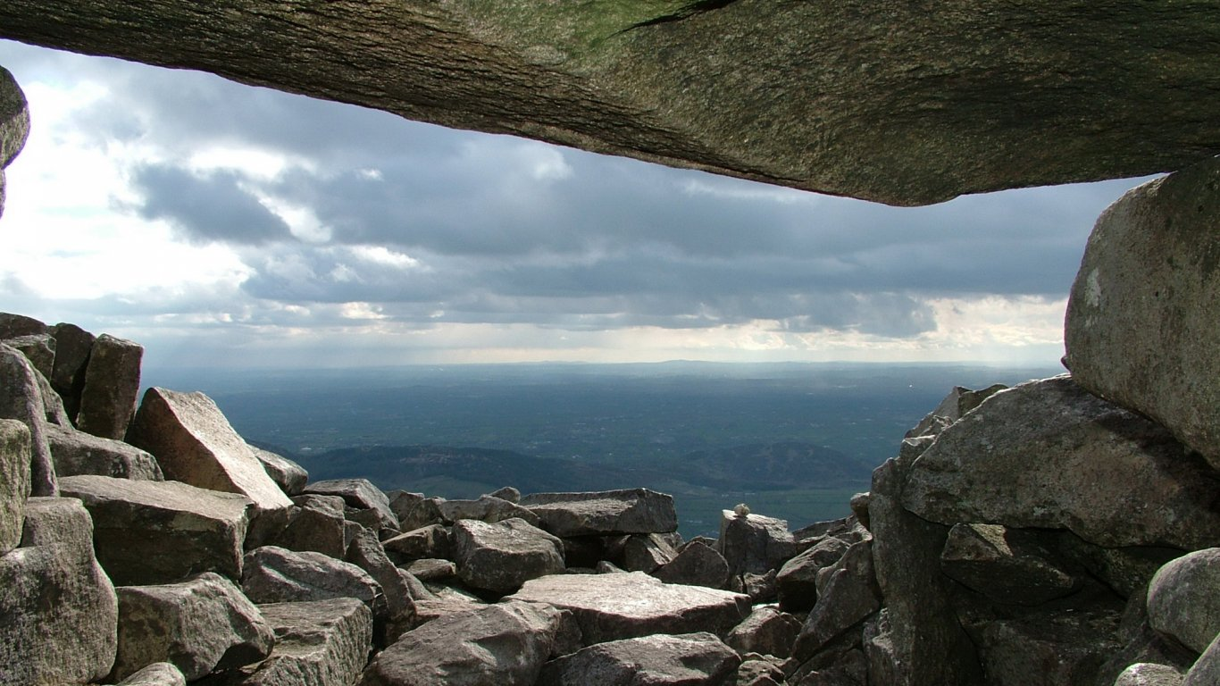 View from passage tomb atop Slieve Gullion mountain in Ireland