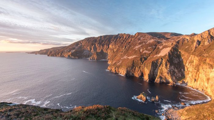 An aerial shot of the Slieve League Cliffs during the sunset