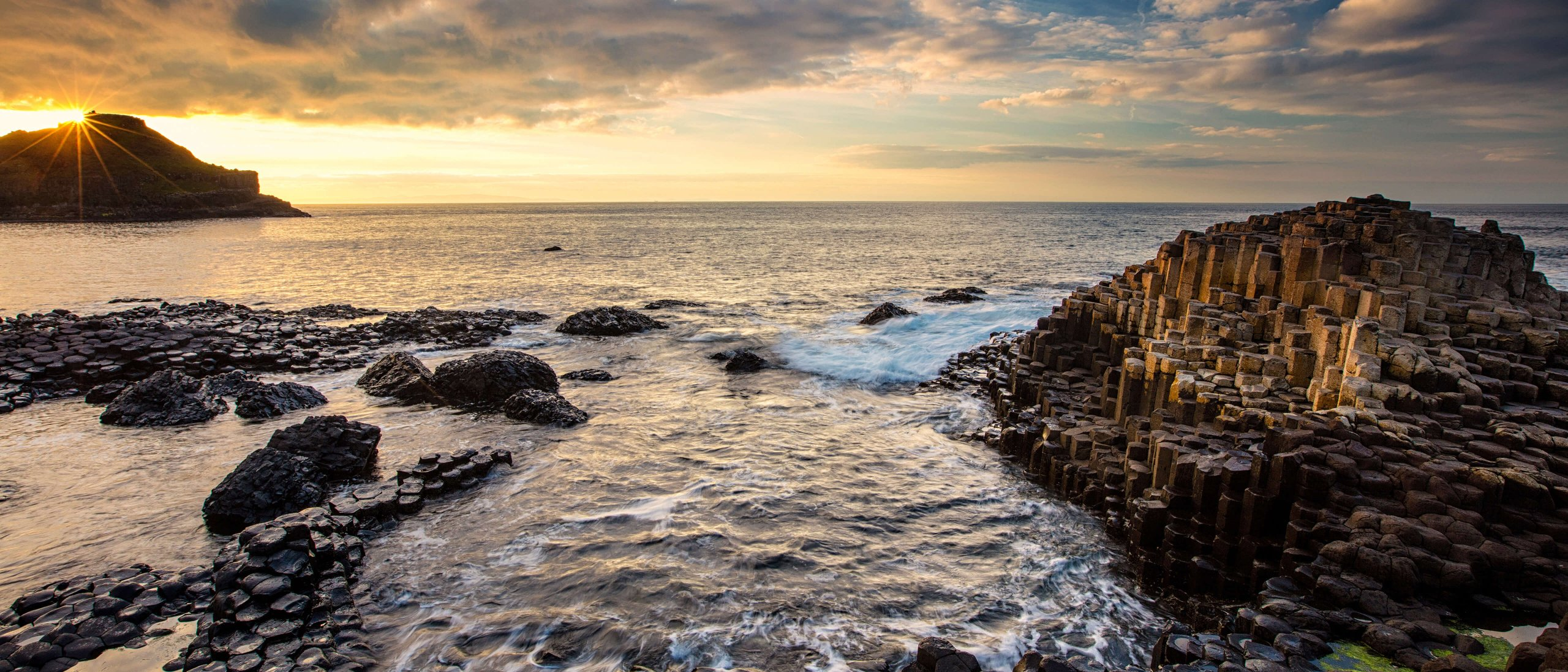 The Giant's Causeway in Northern Ireland at sunrise